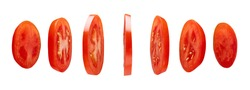 Red tomato slices levitating in the air isolated on white background
