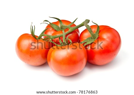red tomato vegetable isolated on white background