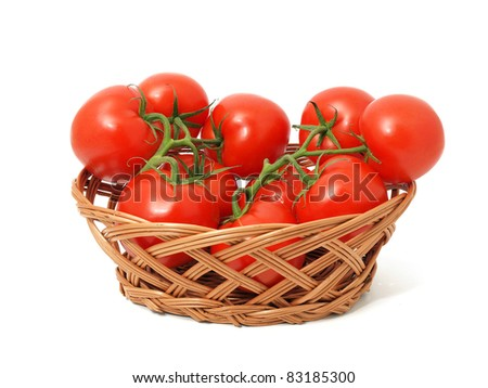 Red tomatoes in the basket