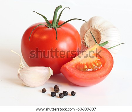 Red tomatos , garlic and pepper