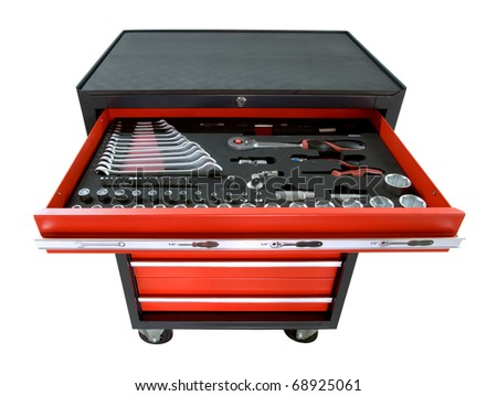 red toolbox on wheels with open tray isolated on white