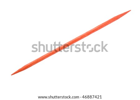 Red  toothpick close up, macro view; isolated, clipping path included