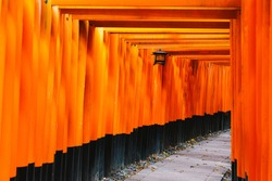 Red Torii gates in Fushimi Inari shrine in Kyoto, Japan Red Tori Gate at Fushimi Inari Shrine with shining light at the end of the gate, Kyoto, Japan Fushimi Inari Shrine landmarks in Kyoto, Japan