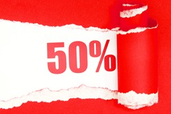Red torn paper with 50 percent