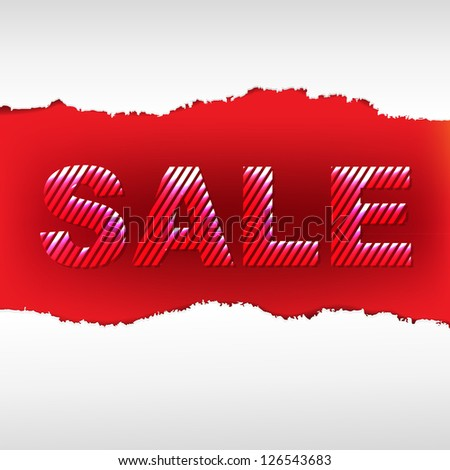 Red Torn Sale Poster, Isolated On White Background