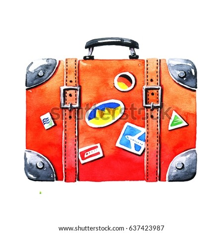 Red tourist suitcase. Hand-drawn watercolor image on white background - Shutterstock ID 637423987