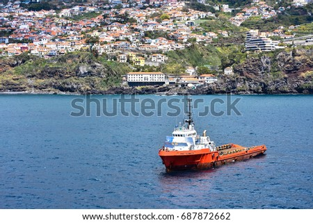 Red towboat near Funchal, Madeira