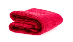Red towel rolls isolated on white background.