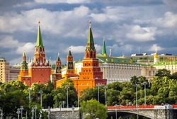 Red towers of the Moscow Kremlin. Russia.