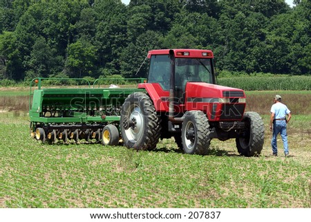 Red Tractor and Farmer