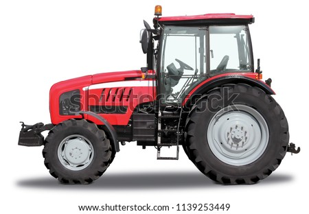 Red tractor from one side, isolated on white background  #1139253449