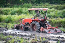 Red tractor plowing on green rice field land, farmer on tractor work plowing agriculture in rainy season at countryside rural asian