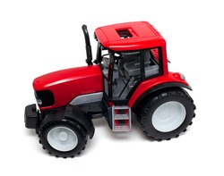 red tractor toy isolated on white background