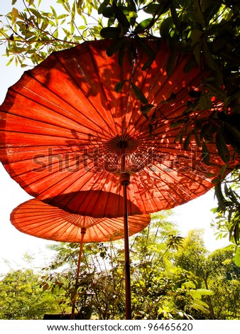Red traditional bamboo umbrellas with leaf shadow under the sun