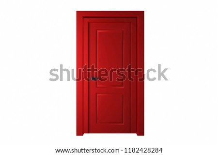 Red Traditional Wooden Door isolated on white background.