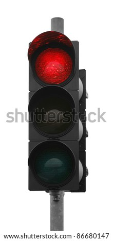 red traffic control signal isolated on white