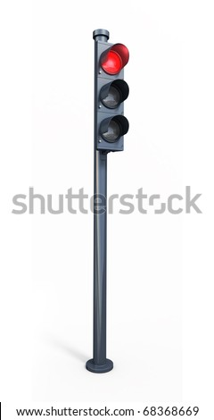 red traffic light (clipping path)