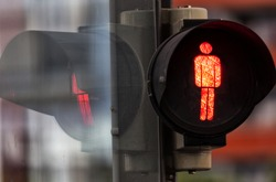 Red traffic light, for pedestrians,Germany