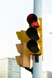 red traffic light on a summer day