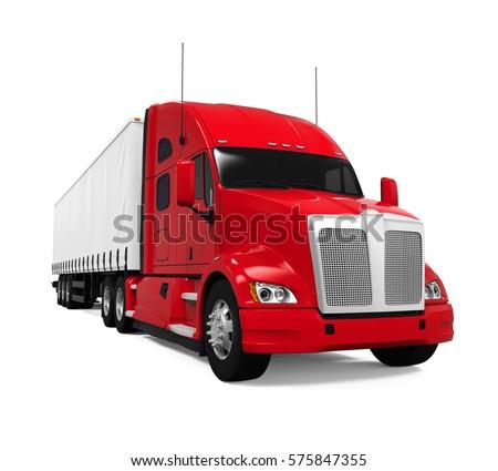 Red Trailer Truck. 3D rendering
