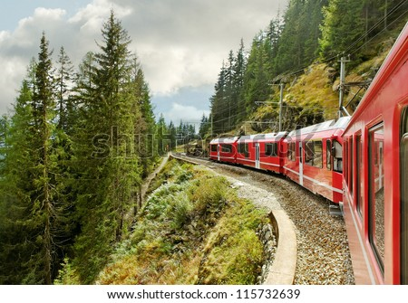 Red train from Tirano to the Switzerland.
