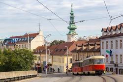 Red tram in Bratislava in a summer day, Slovakia