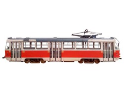 Red tram isolated on white