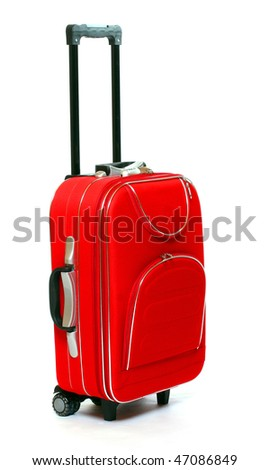 Red travel bag - isolated on white background.