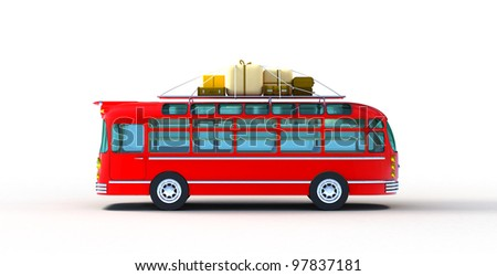 Red Travel bus with the bales and luggage on the roof on white background.