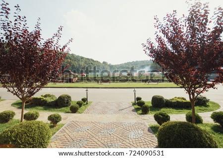Red trees grow on the frontyard - Shutterstock ID 724090531