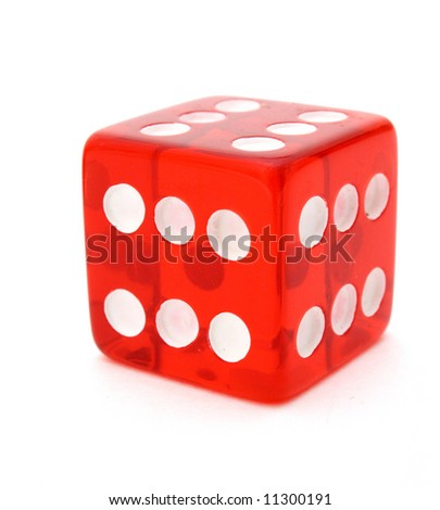 red tricky die with all sides giving six over a white surface
