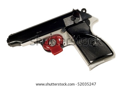 red trigger lock on a pistol with clipping path at this size