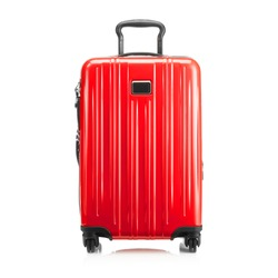 Red Trolley Bag Isolated on White Background. Trolley Luggage Bag. Vip Trolley Bag. Trolley Travel Bag. Spinner Trunk. Wheeled Luggage. Front View of Suitcase