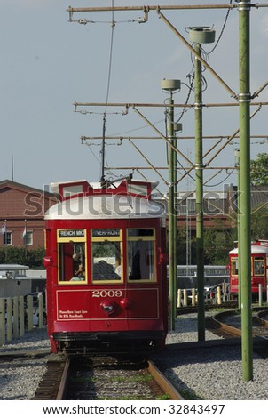 Red trolley car in New Orleans