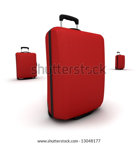 Red trolley suitcases against a white background