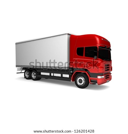 RED Truck Freight truck isolated on white background Cargo truck red White delivery car isolated 3D illustration