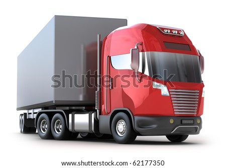 Red Truck with container isolated on white. My own design.