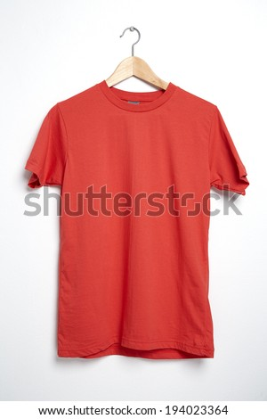 Red tshirt template on hanger ready for your own graphics.