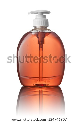 Red tube bottle of shampoo, conditioner, hair rinse, gel, soap, on a white background with reflection.