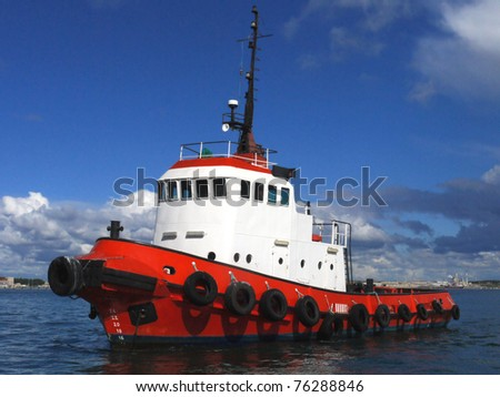 Red Tug Seascape