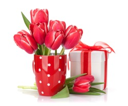 Red tulip flowers bouquet and gift box. Valentine's day or Easter greeting card. Isolated on white background