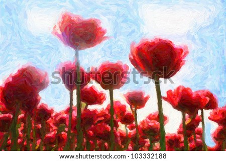 Red tulips against blue sky. Computing realistic oil painting style.