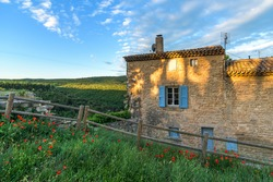 Red tulips and old house in little village Bonnieux at sunrise in Provence, France