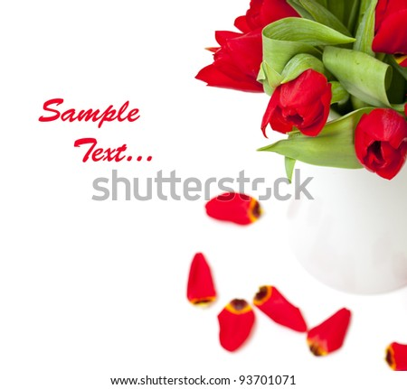 red tulips and sample text