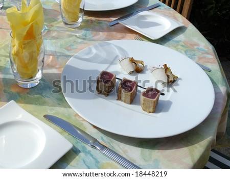 Red tuna presentation on plate