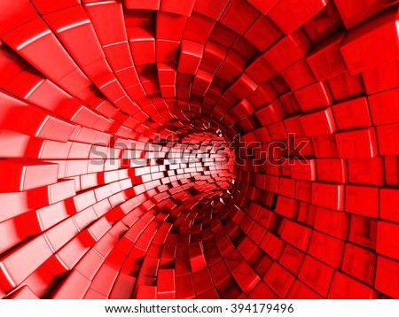 Red Tunnel Abstract Architecture Background. 3d render illustration