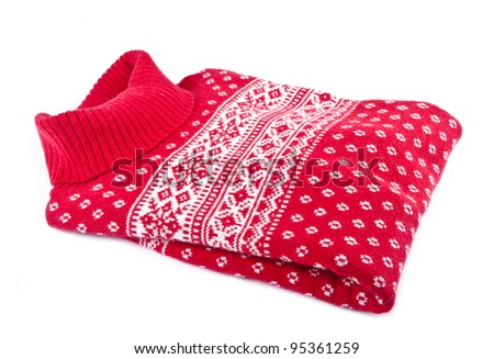 Red Turtleneck Sweater Isolated on White