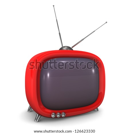 Red tv with antenna on the white background.