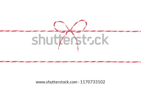 Red twine rope isolated,christmas package decor string with bow. Stockfoto ©