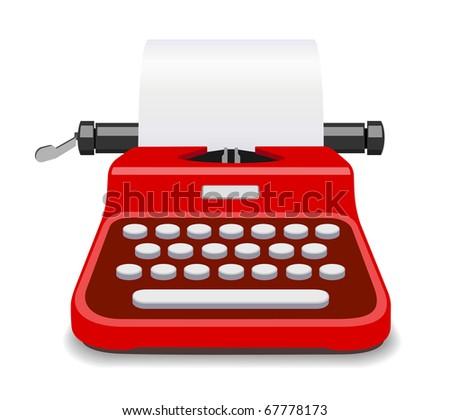 Red typewriter illustration - stock photo